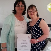 This is me with my lecturer Roxanne, graduating with Level 5 Literacy from TAFE.