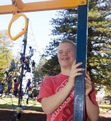 Smiling boy in playground