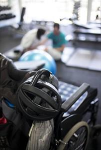 Helmet on corner of wheelchair