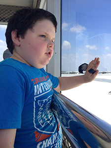 Cameron on the viewing deck