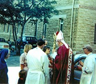 Genevieve Tranter (centre) in 1977 receiving the Sacrament of Confirmation in the grounds of Clontarf Church.