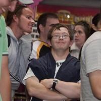 Confident man in crowd