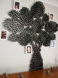Tree made from paper rolls