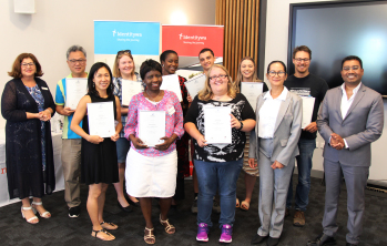 Celebrating their achievements. Students with Identitywa CEO Marina Re and Centacare Program Manager,  Daniel Neville and trainer, Maree Masamayor.
