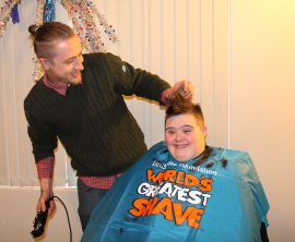 Dale with his hairdresser, Dave.