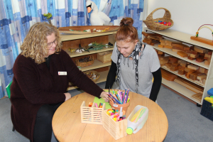 Tiffany working in the Early Childhood Centre with Tafe staff member, Tamara Devlin.