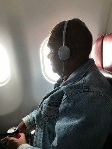Enjoying the plane trip