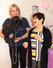 Jo and Rhona with poodle, Lady, who also joined enjoyed the event.