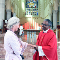 Andrea with the Dean of St Mary's Cathedral, Fr Sean Fernandez