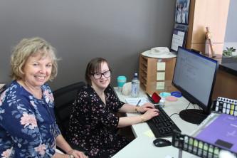 Bettina at Identitywa's Balcatta Hub  with Area Manager North, Wendy Cox.